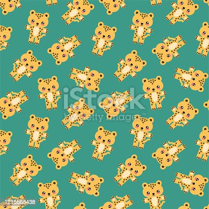 Seamless pattern with little cheetahs on a dark green background. Illustration in flat style. Vector 8 EPS.