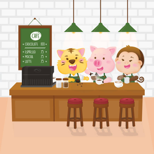ilustrações de stock, clip art, desenhos animados e ícones de cute animal barista in cafeteria. character design. vector illustration. - kitchen counter