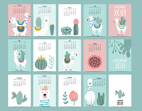 Cute animal calendar 2021 with llama, alpaca, cactus for children, kid, baby.Can be used for printable graphic.Editable elemen