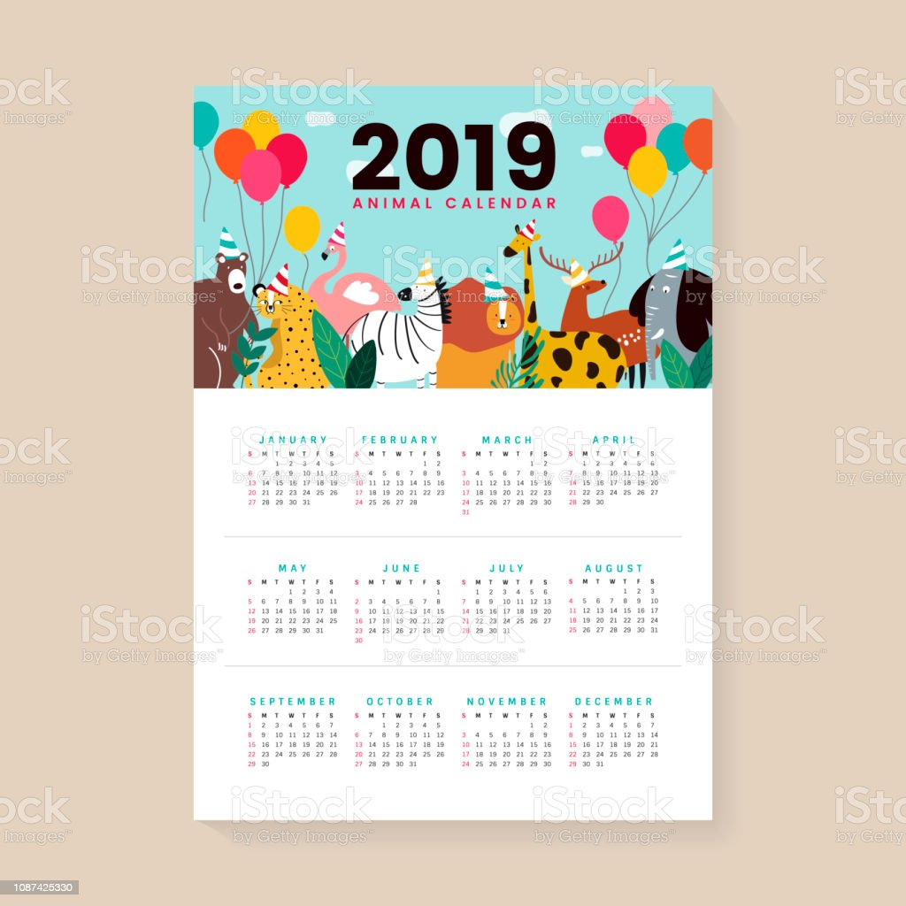 Cute animal calendar mockup vector art illustration