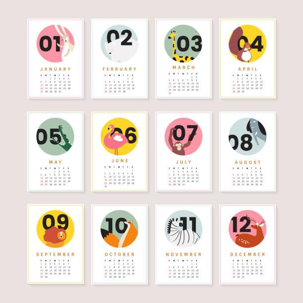ilustrações, clipart, desenhos animados e ícones de maquete de calendário animal bonito - calendário de vida selvagem