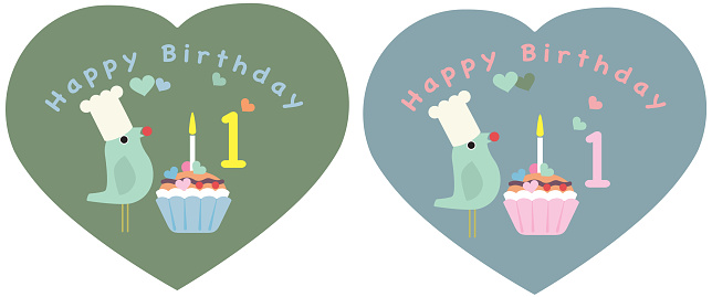 Cute animal character chef bird celebrating first birthday with cupcake ,vector ,illustration