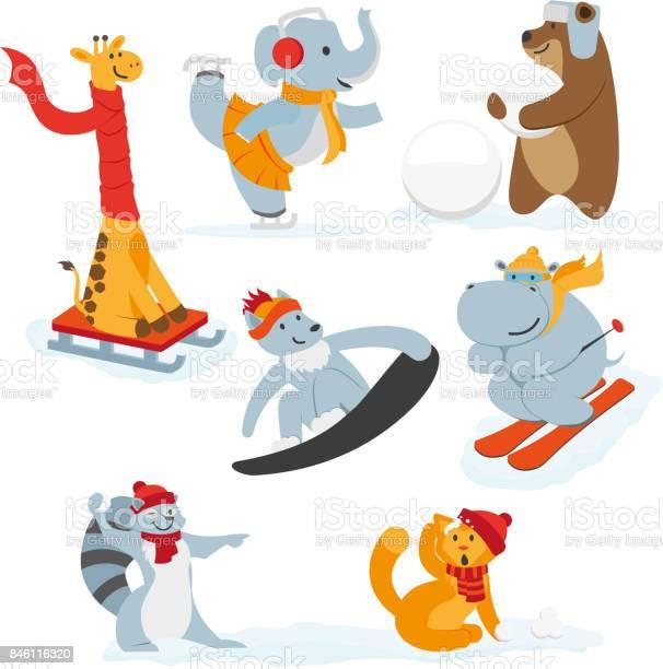 Cute animal characters doing winter activities vector id846116320?b=1&k=6&m=846116320&s=612x612&h=d gutlz46zxd9vdpfgxcqp09bxopusaekqpgjl84r3s=