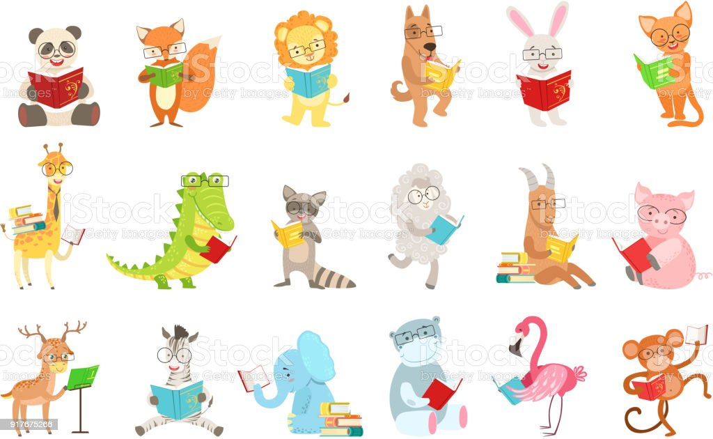 Cute Animal Characters Reading Books Set vector art illustration