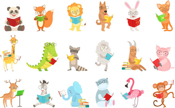 Cute Animal Characters Reading Books Set Cute Animal Characters Reading Books Set. Childish Cartoon Style Humanized Animals Vector Stickers Isolated On White Background. reading stock illustrations