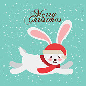 cute animal christmas celebration card