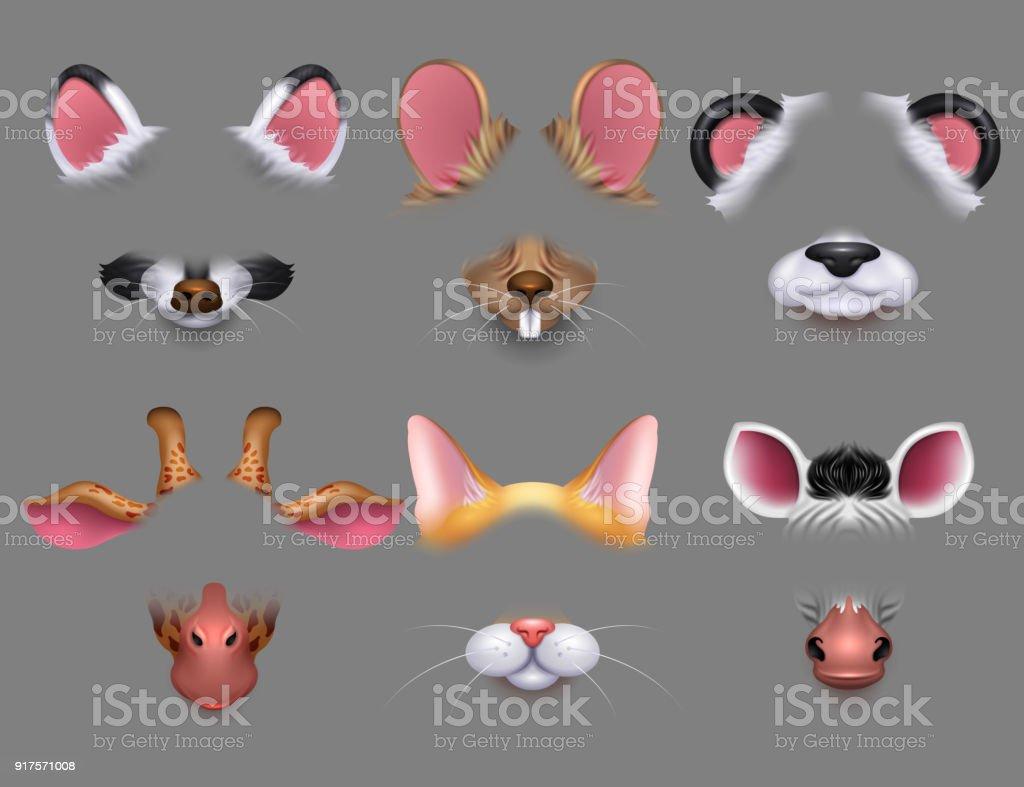 Ilustración de Animal Lindo Orejas Y La Nariz Filtros De Efectos De ...