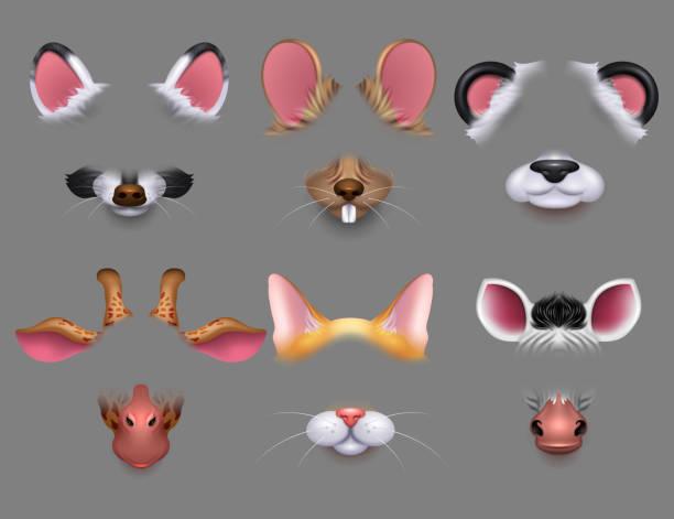 niedliche tier ohren und nase video-effekt-filter. lustige tiere gesichter masken für handy-vektor festgelegt - giraffenkostüm stock-grafiken, -clipart, -cartoons und -symbole