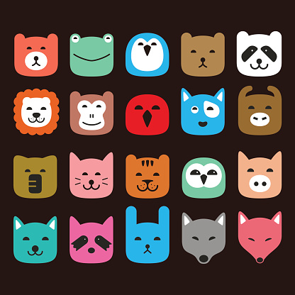 cute animal face flat icon set, vector illustration