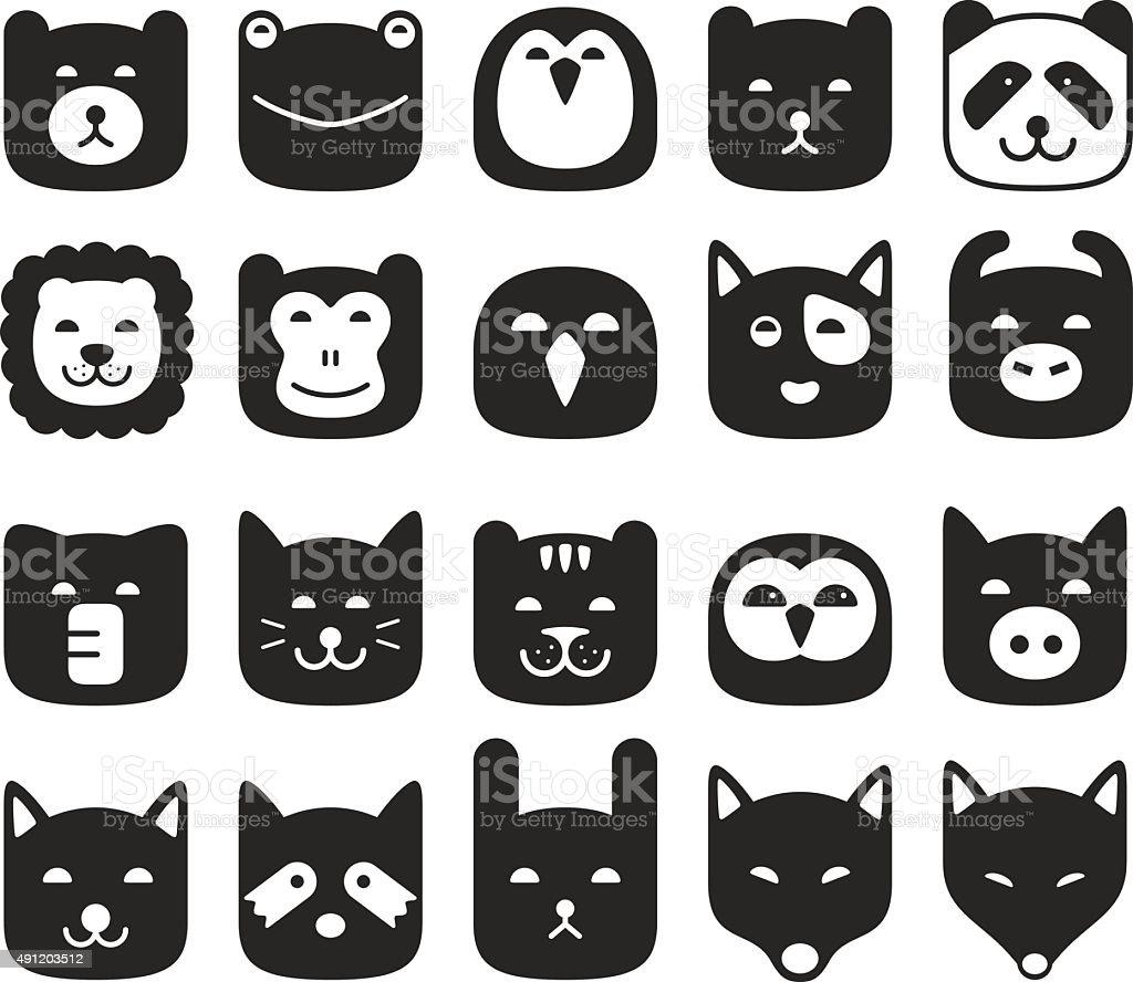 cute animal face flat icon set, vector illustration vector art illustration