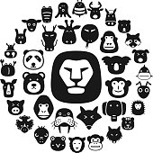 cute animal face icons set, cartoon vector illustration