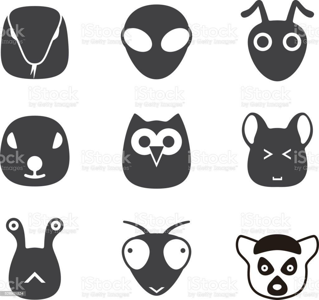 動物の顔アイコンセットシリーズ のイラスト素材 528901524 | istock