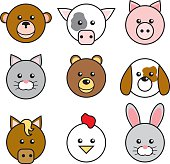 A group of round, happy animal faces. Clockwise from top: Monkey, cow, pig, dog, bunny, chicken, horse, cat and bear. No gradients were used when creating this illustration.