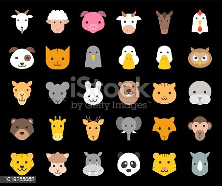 cute animal face included farm, forest and African animals, flat design