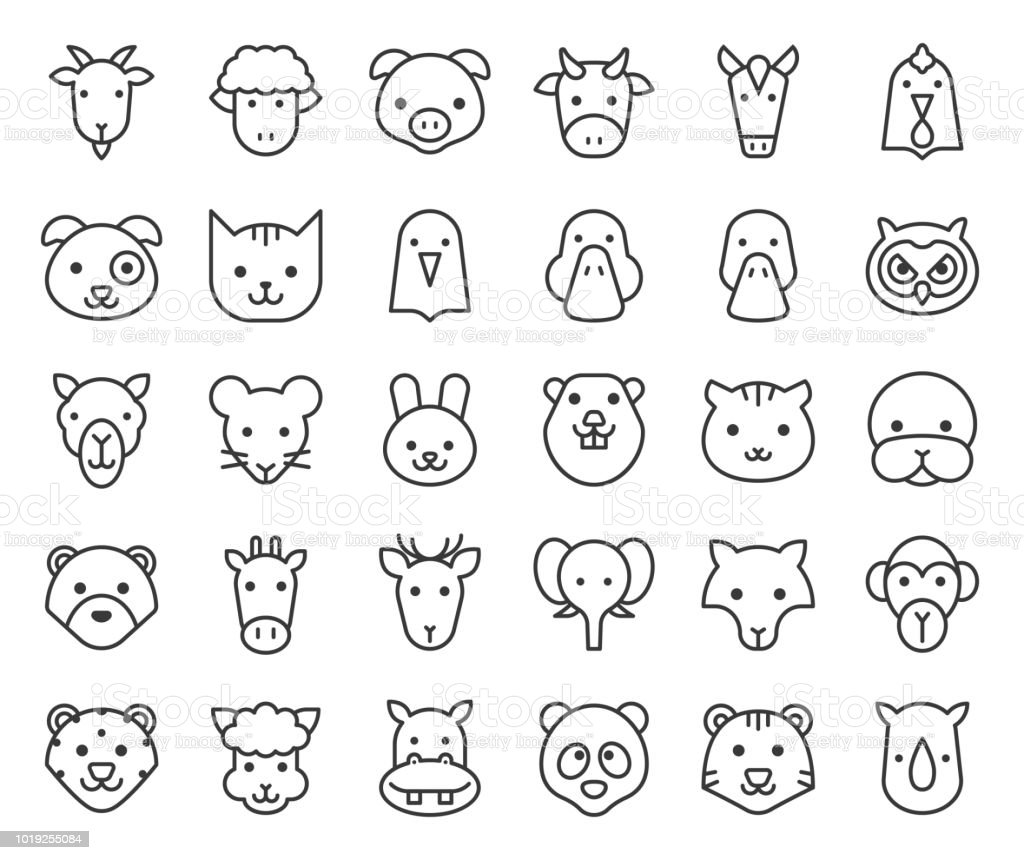 Cute animal face included farm forest and african animals outline design illustration