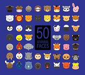 Cute Animal Faces Cartoon Vector Illustration