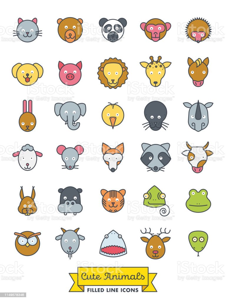 Collection of cute animal faces color filled line icons. Pet, cattle...