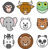 A group of round, happy animal faces. Clockwise from top: Monkey, bull, frog, tiger, panda, lion, zebra, elephant and polar bear. No gradients were used when creating this illustration.