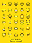 Collection of cute animal faces with white eyeballs vector line icons. Pet, cattle and wild creatures symbols.