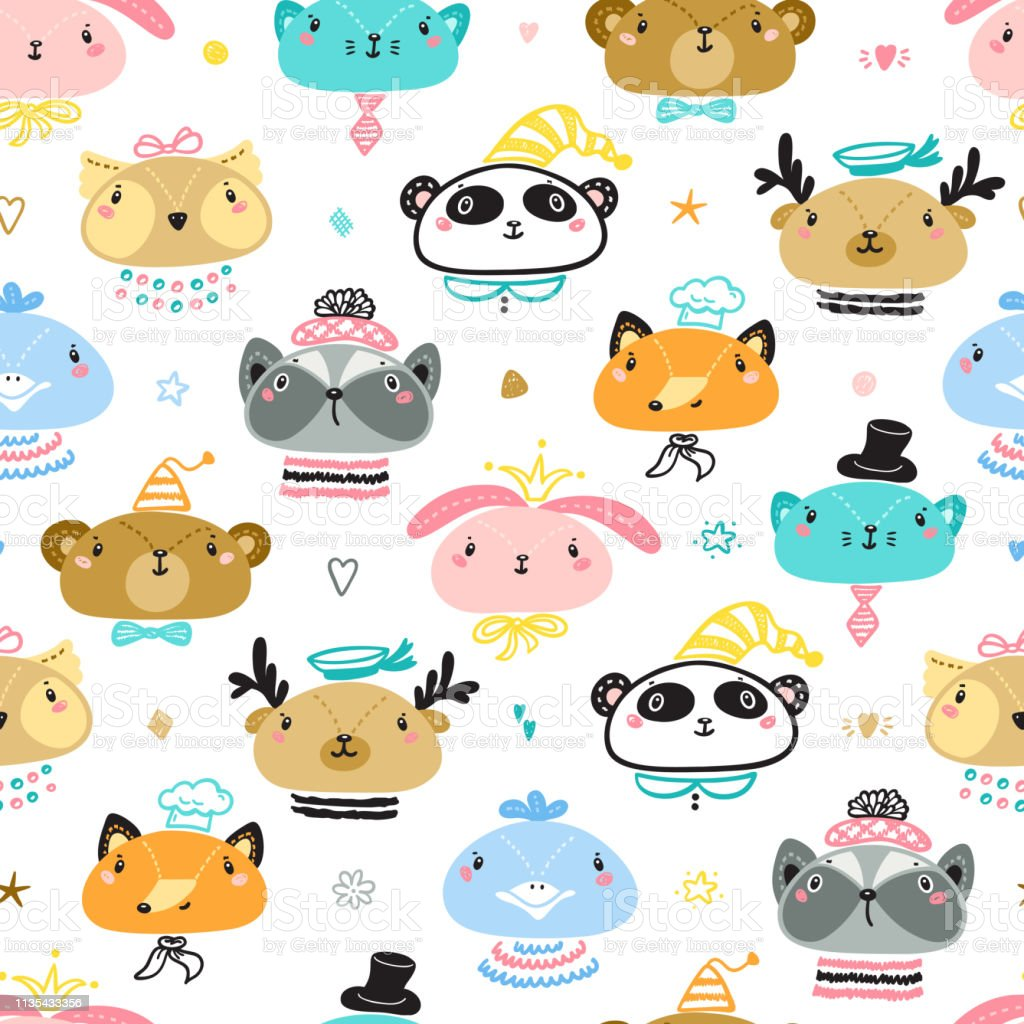 Cute Animal Faces Seamless pattern. Doodle Cartoon Animals and Birds....