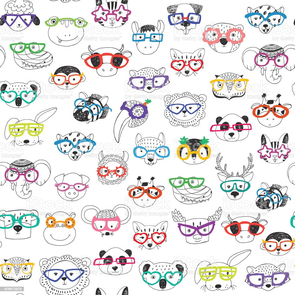 3f01900eb34 Cute animal faces with funny glasses doodle seamless pattern