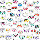 Cute animal faces with funny glasses doodle seamless pattern