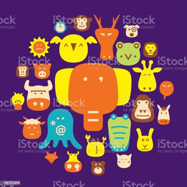 Cute animal faces set cartoon vector illustration flat icons vector id158220359?b=1&k=6&m=158220359&s=612x612&h=7j citbdsha2bjpibnxznimq9xabsdexov3zkm74hs4=