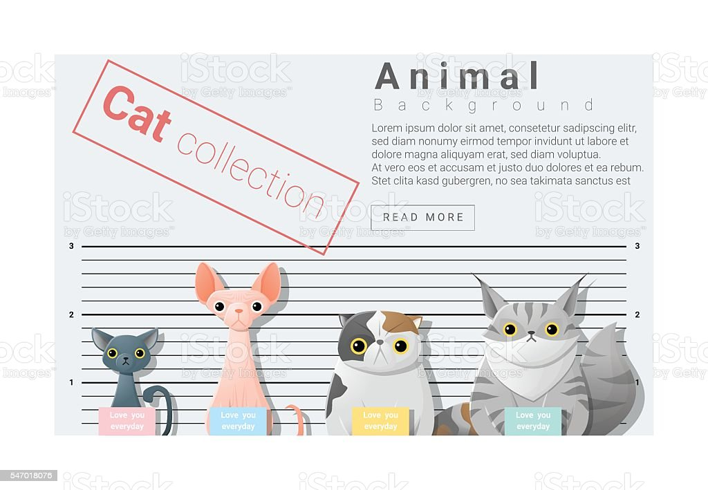 Cute animal family background with Cats 4 vector art illustration