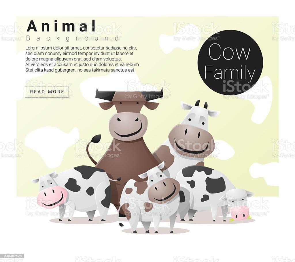 Cute animal family background with Cows - ilustração de arte em vetor