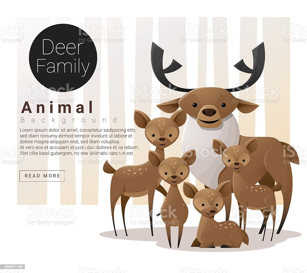 Cute animal family background with Deers vector art illustration