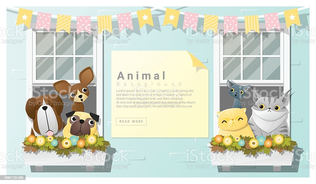 Cute animal family background with Dogs and Cats vector art illustration
