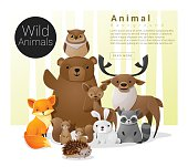 Cute animal family background with Wild animals , vector , illustration