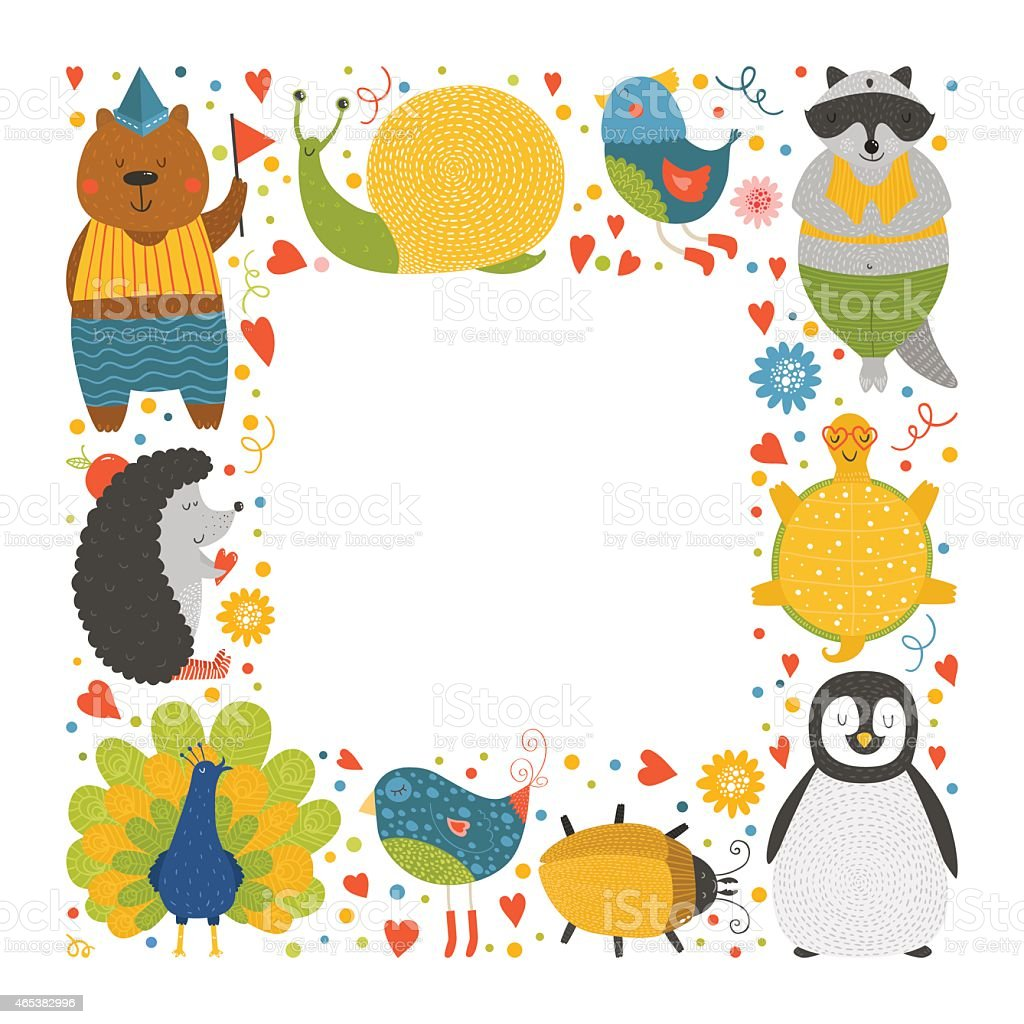 かわいい動物のフレーム赤ちゃん動物 のイラスト素材 465382996 | istock