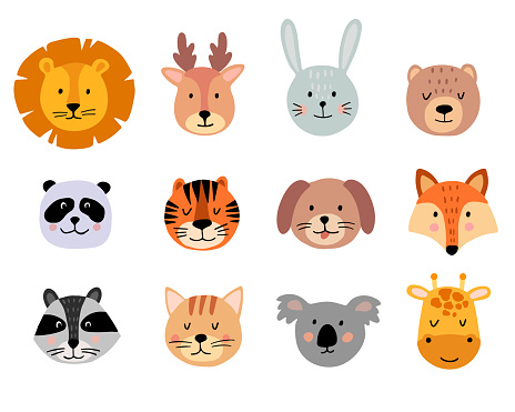 Cute animal hand drawn faces set on white background. Cartoon characters of lion, giraffe, deer, koala, bear, cat, bunny, fox, raccoon, tiger, dog, panda.