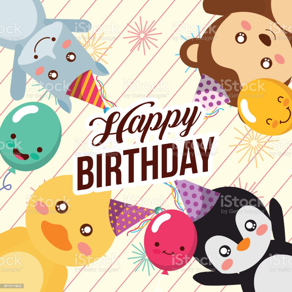 cute animal happy birthday vector art illustration