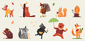 Cute animal in autumn vector illustration set. Cartoon hand drawn autumnal forest collection with funny animals holding symbols of fall season, deer beaver rooster hedgehog squirrel owl fox sheep bear
