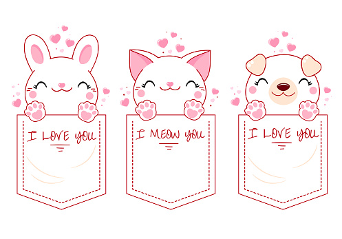 Cute animal in pocket set. Baby collection of kawaii cat, puppy and bunny in pockets