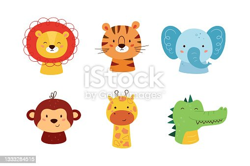 istock Cute animal kawaii characters. Funny lion, tiger, giraffe, elephant, monkey and crocodile. The faces of wild animals. Vector illustration isolated on white background 1333284515