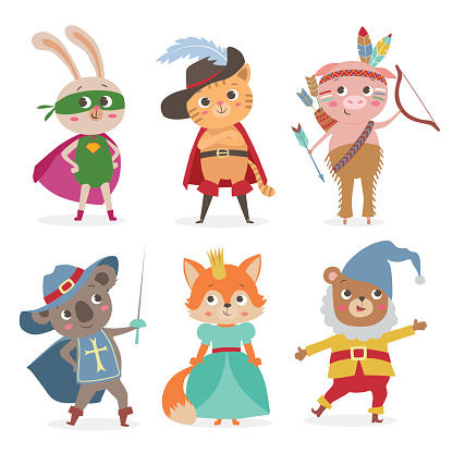 Cute animal kids in different costume. Cartoon vector illustration