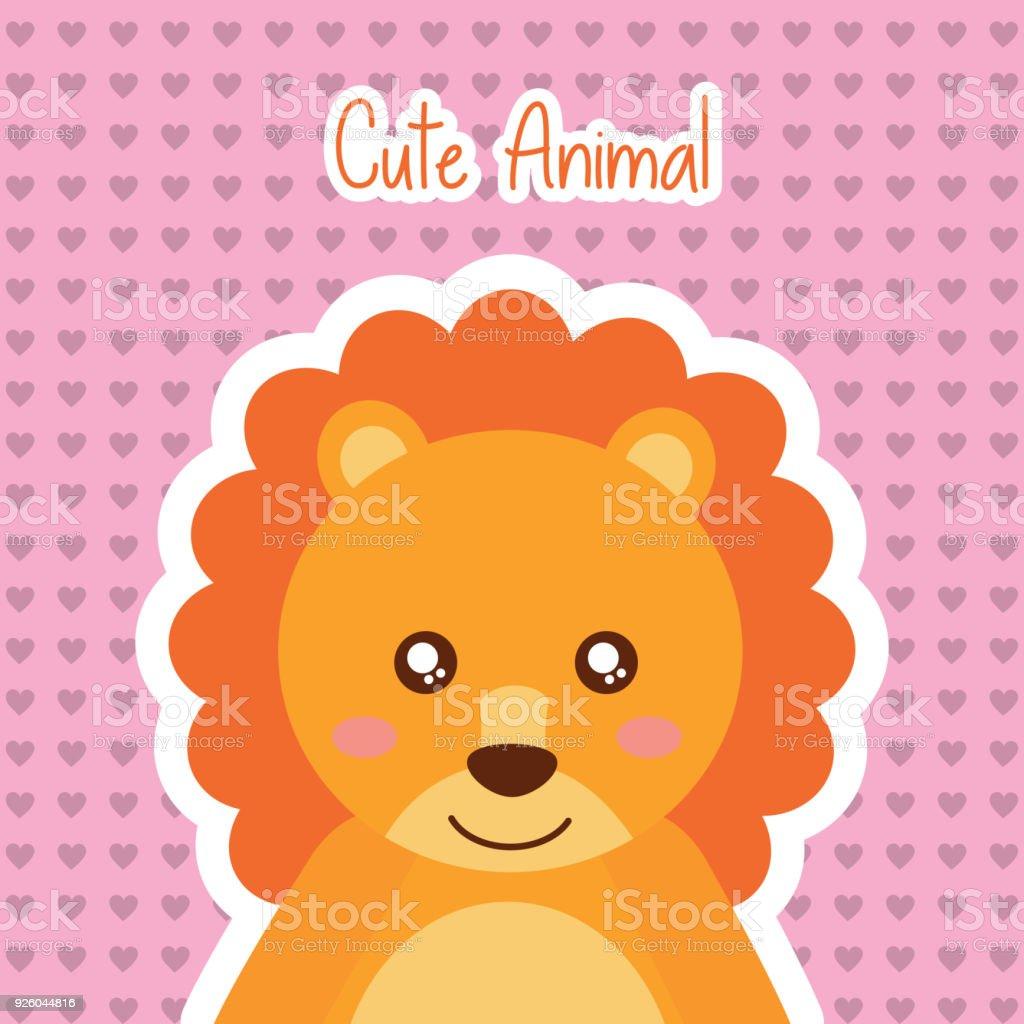かわいい動物ライオン野生動物赤ちゃん心背景 - イラストレーションの