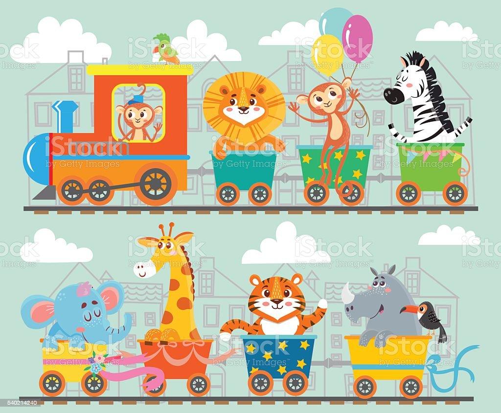 Cute animal on train vector art illustration