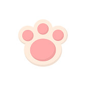Easter bunny paw cookie vector illustration. Cute pink animal paw icon, isolated.