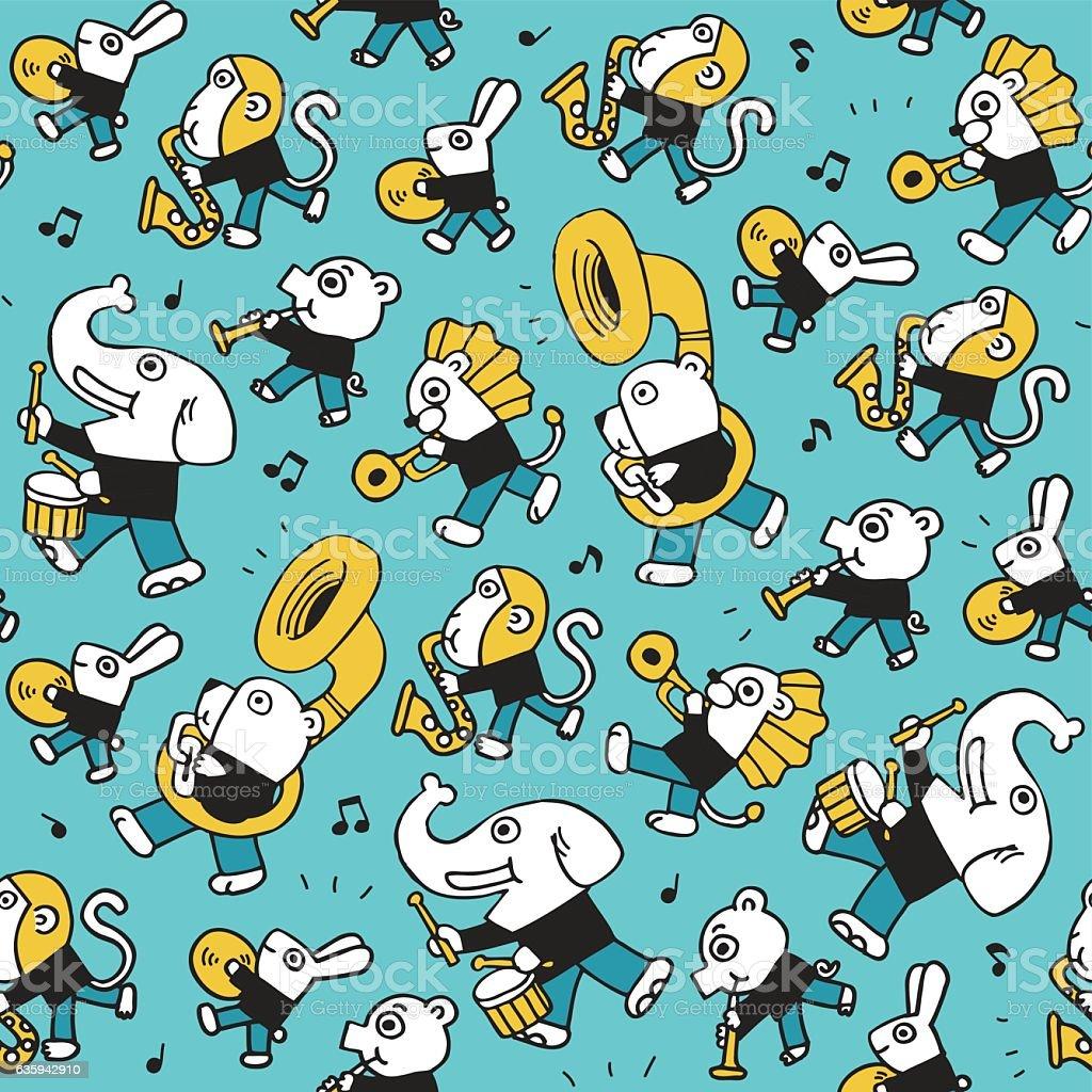 cute animal play music.vector illustration background vector art illustration