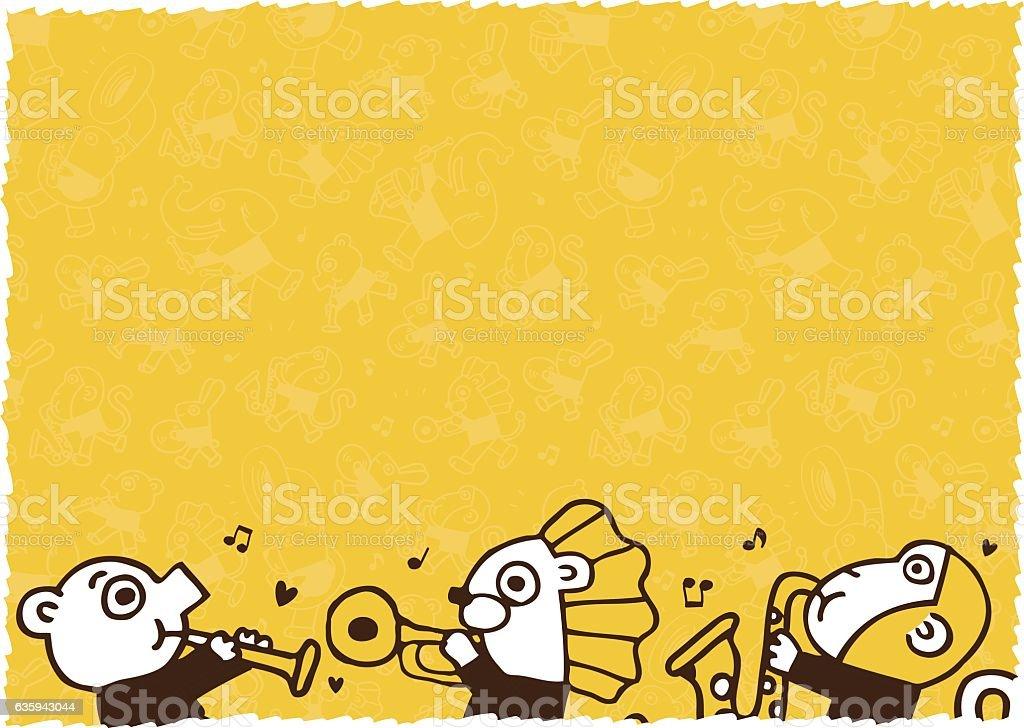 cute animal play music.vector illustration blank vector art illustration
