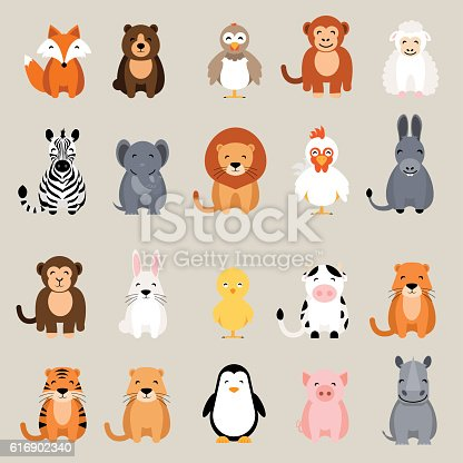 Cute vector animal set. Fox, bear, elephant, bear, hen, chicken, chick, rooster, lion, monkey, tiger, pig, donkey, rabbit, rhino, cow, zebra, sheep, penguin