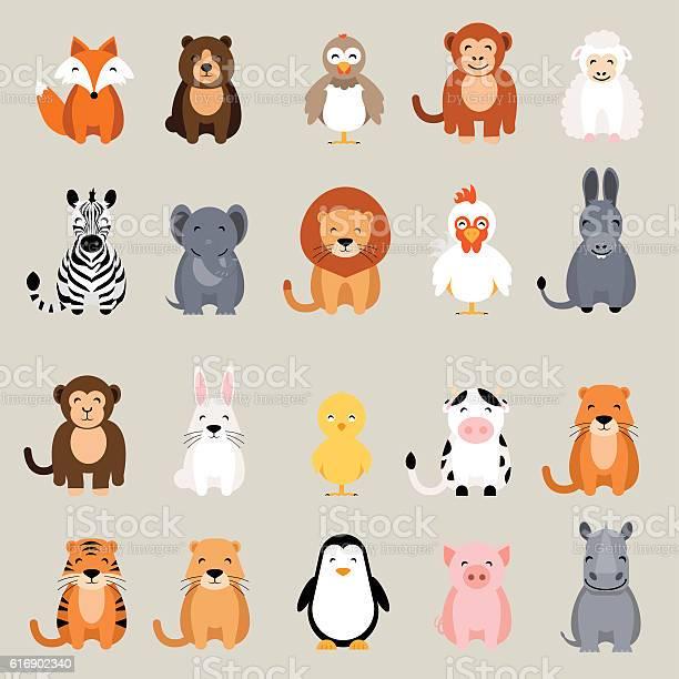 Cute animal set fox bear rooster lion rhino cow zebra vector id616902340?b=1&k=6&m=616902340&s=612x612&h=z0fiwlxili8s sqpj3ztq0rinff9e3esm7fzdqdwehe=