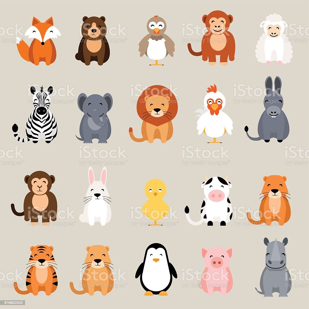Cute animal set. Fox, bear, rooster, lion, rhino, cow, zebra - ilustración de arte vectorial