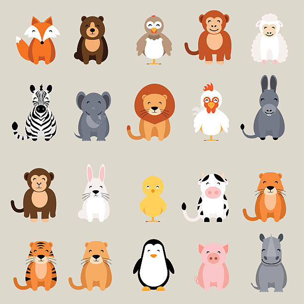 ilustraciones, imágenes clip art, dibujos animados e iconos de stock de cute animal set. fox, bear, rooster, lion, rhino, cow, zebra - zorro