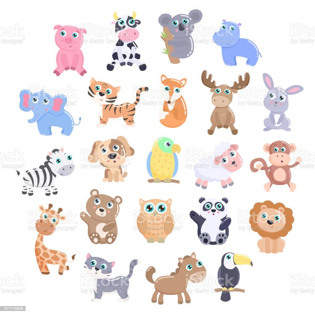 Cute animal set.