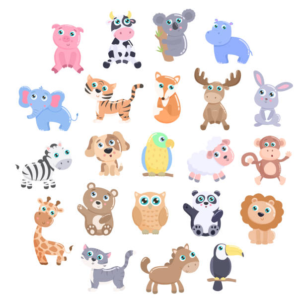cute animal set. - baby animals stock illustrations